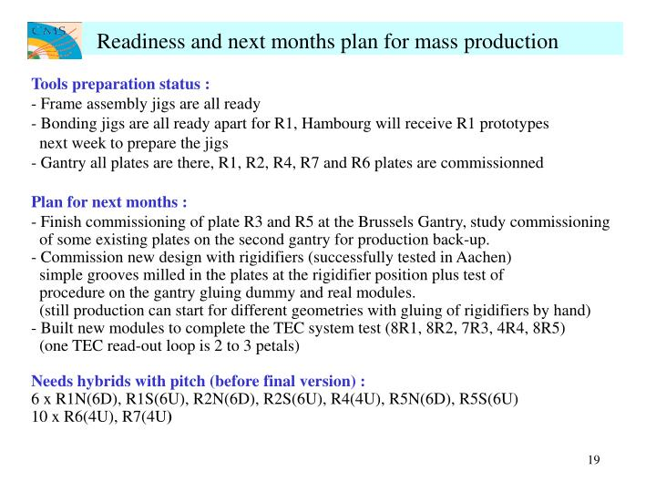 Readiness and next months plan for mass production
