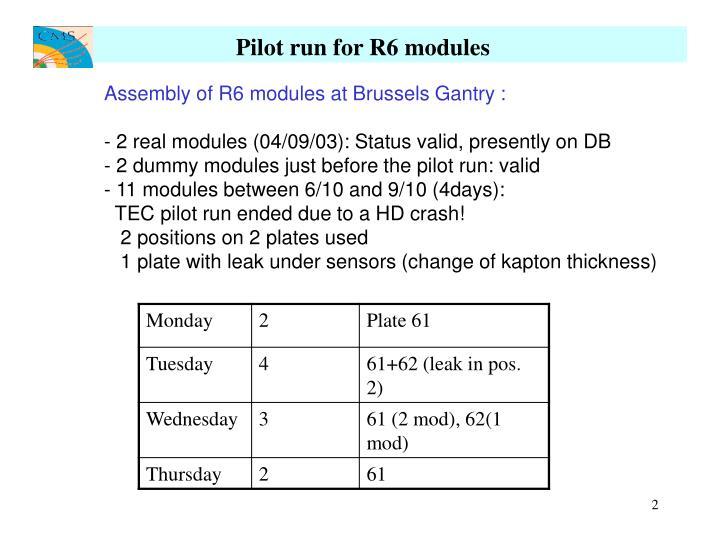 Pilot run for R6 modules