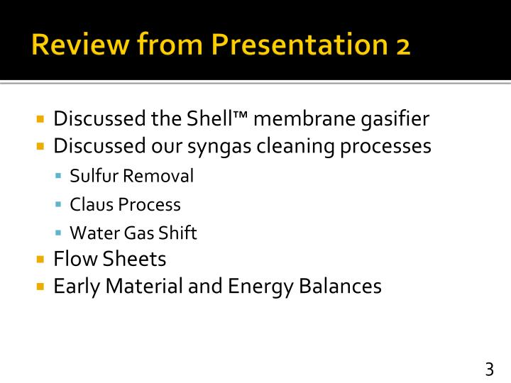 Review from Presentation 2