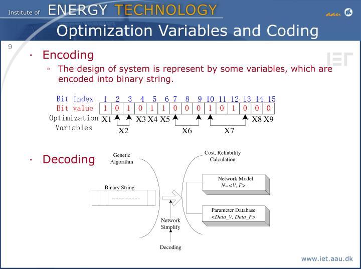 Optimization Variables and Coding