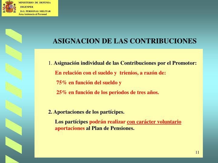 ASIGNACION DE LAS CONTRIBUCIONES