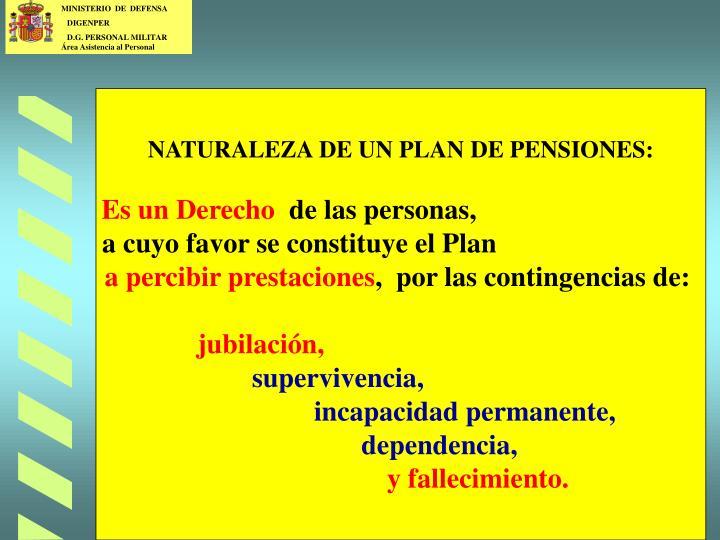 NATURALEZA DE UN PLAN DE PENSIONES: