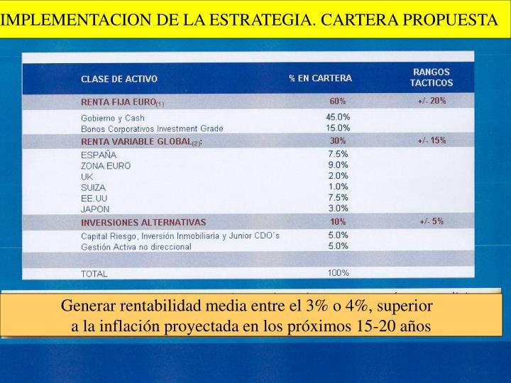 IMPLEMENTACION DE LA ESTRATEGIA. CARTERA PROPUESTA