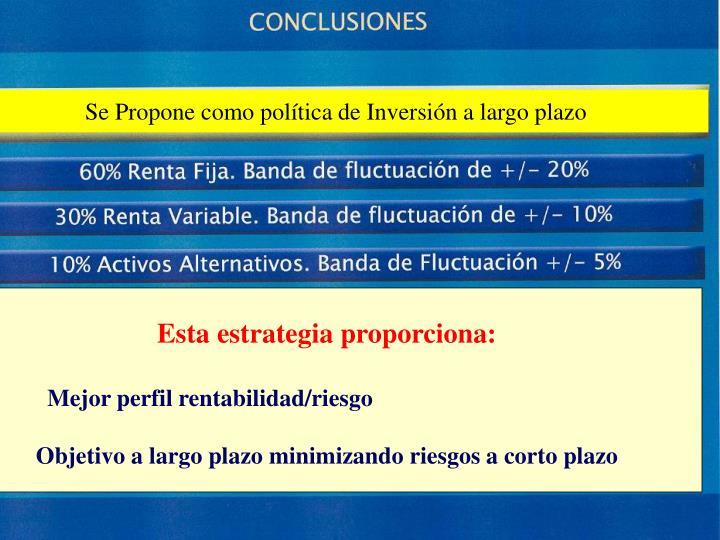 Se Propone como política de Inversión a largo plazo