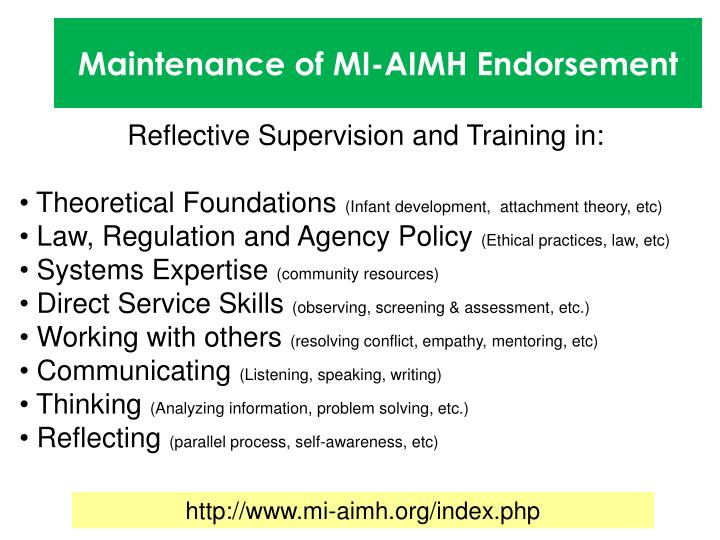 Maintenance of MI-AIMH Endorsement