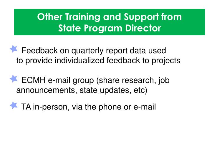 Other Training and Support from                State Program Director