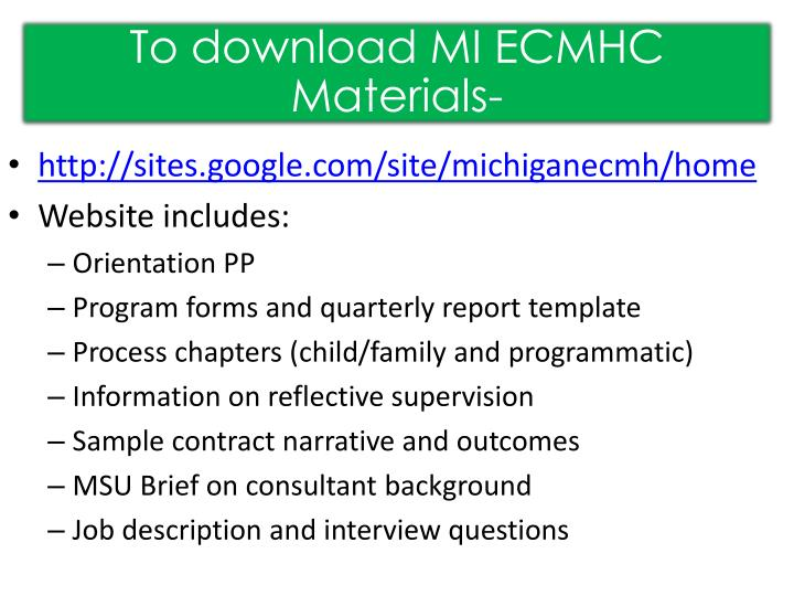 To download MI ECMHC Materials-