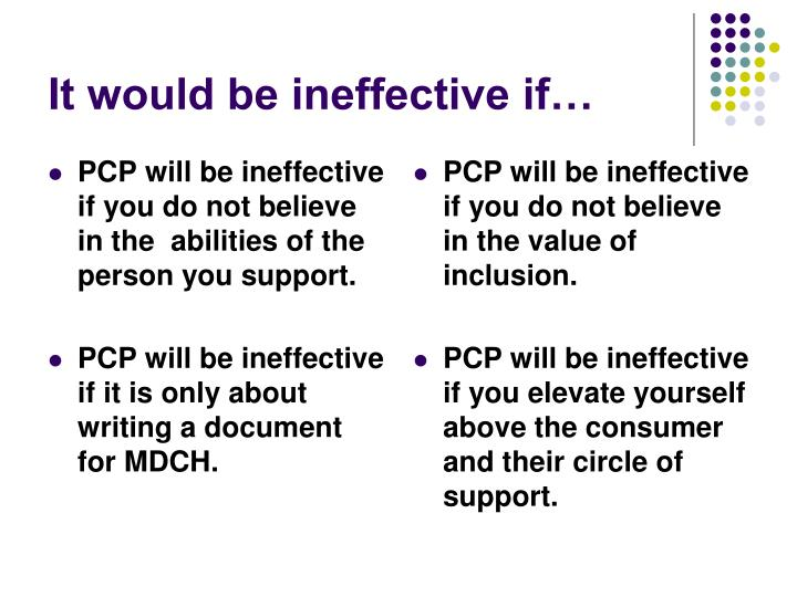 PCP will be ineffective if you do not believe in the  abilities of the person you support.