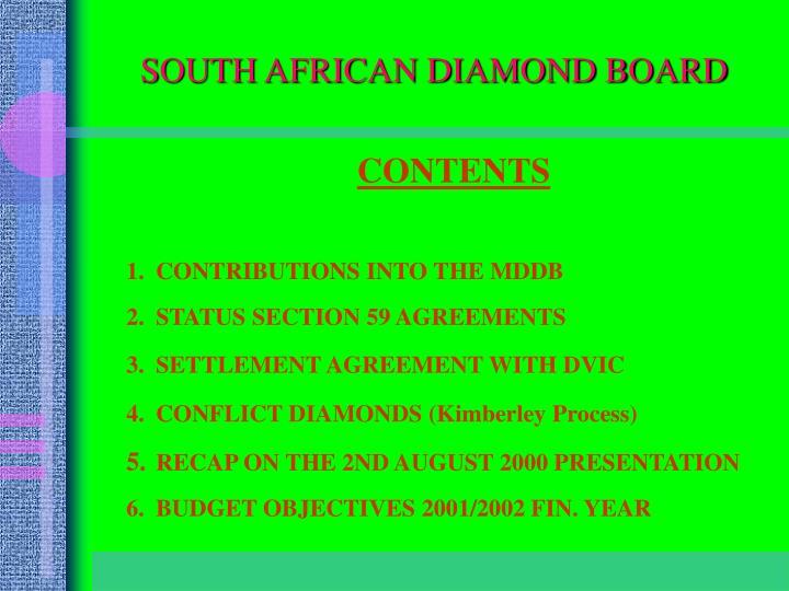 SOUTH AFRICAN DIAMOND BOARD