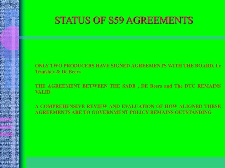 STATUS OF S59 AGREEMENTS