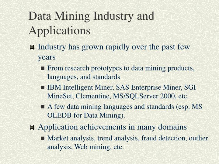 Data Mining Industry and Applications