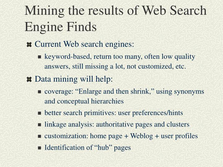 Mining the results of Web Search Engine Finds