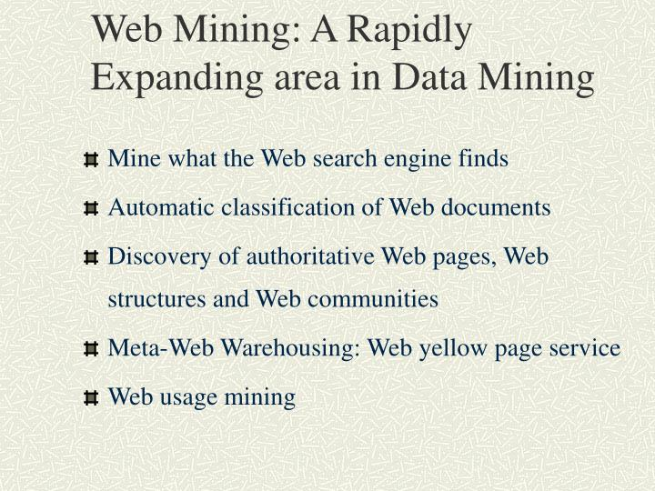 Web Mining: A Rapidly Expanding area in Data Mining