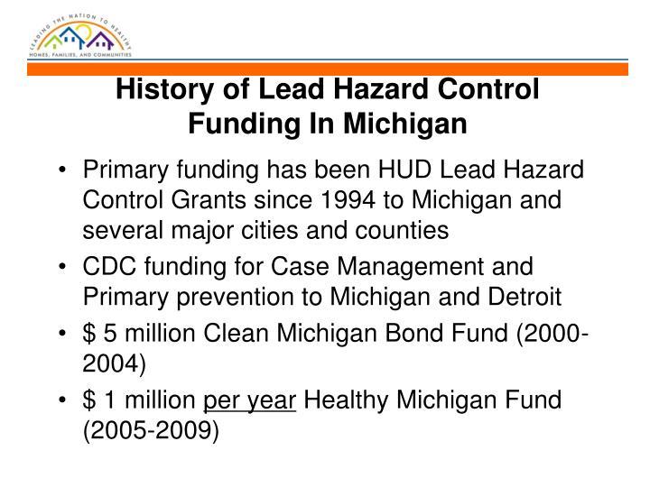 History of Lead Hazard Control Funding In Michigan