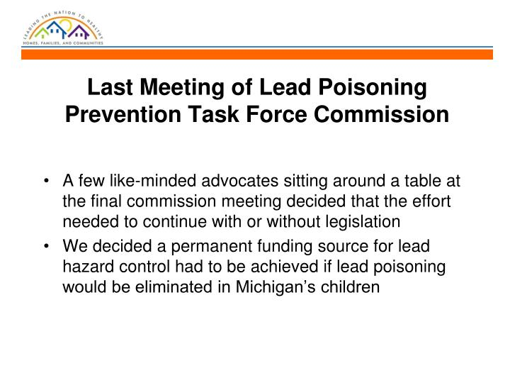Last Meeting of Lead Poisoning Prevention Task Force Commission