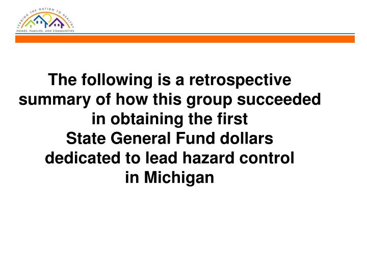 The following is a retrospective summary of how this group succeeded in obtaining the first