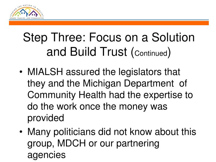 Step Three: Focus on a Solution and Build Trust (