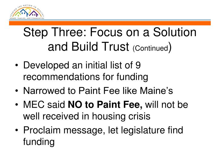 Step Three: Focus on a Solution and Build Trust
