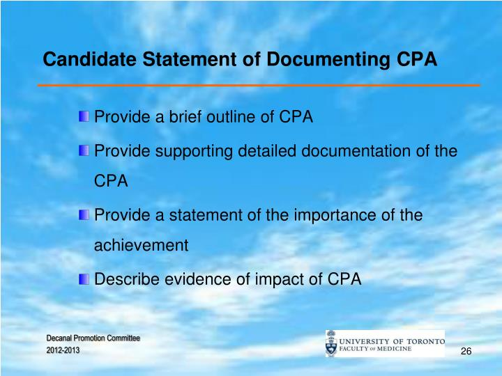 Candidate Statement of Documenting CPA