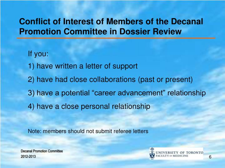 Conflict of Interest of Members of the Decanal Promotion Committee in Dossier Review