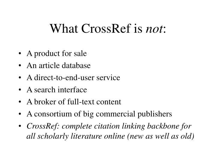 What CrossRef is