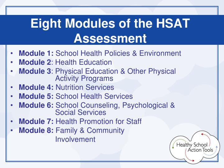Eight Modules of the HSAT Assessment