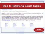 step 1 register select topics