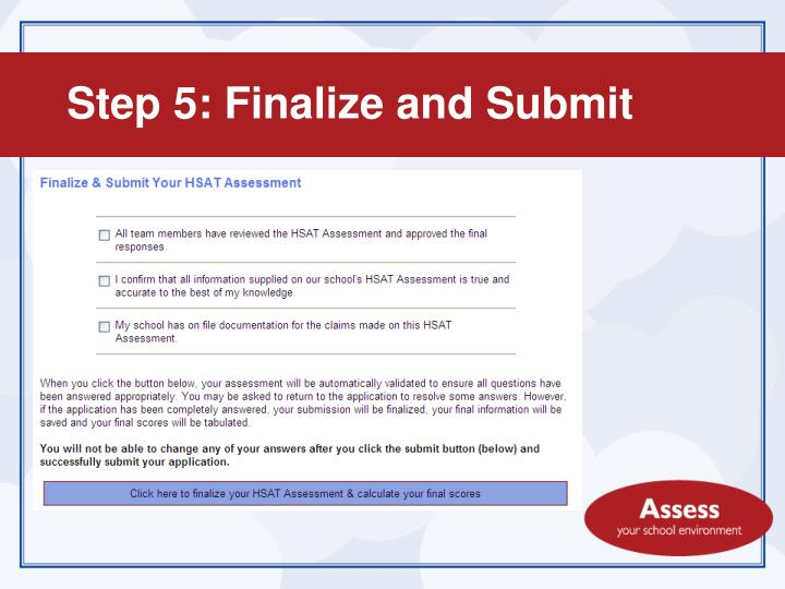Step 5: Finalize and Submit