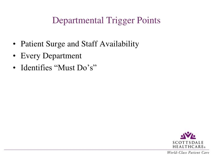 Departmental Trigger Points