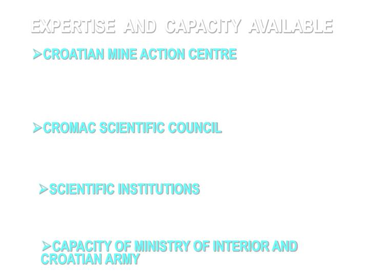 EXPERTISE  AND  CAPACITY  AVAILABLE