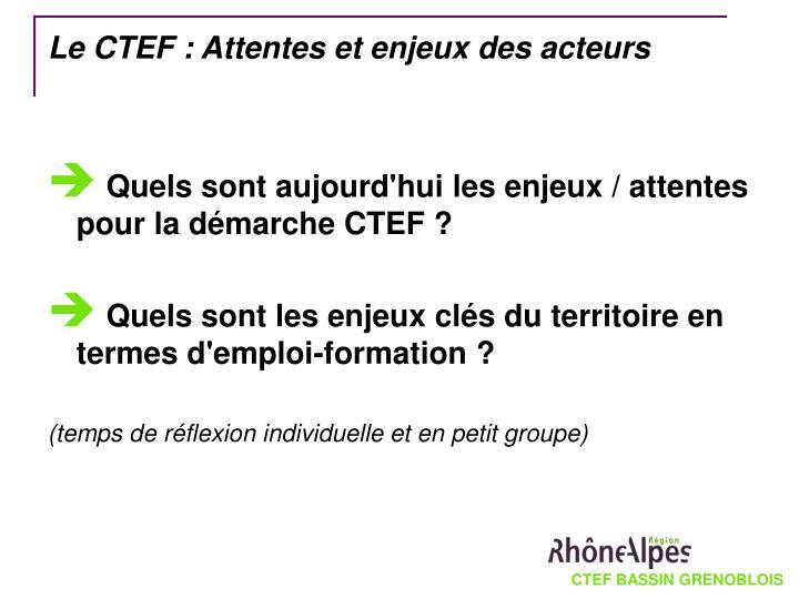 Le CTEF : Attentes et enjeux des acteurs