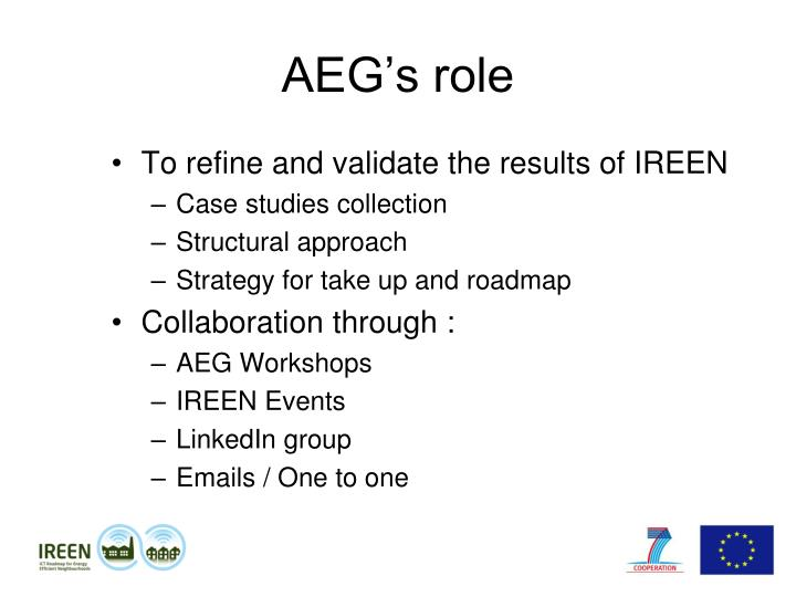 AEG's role
