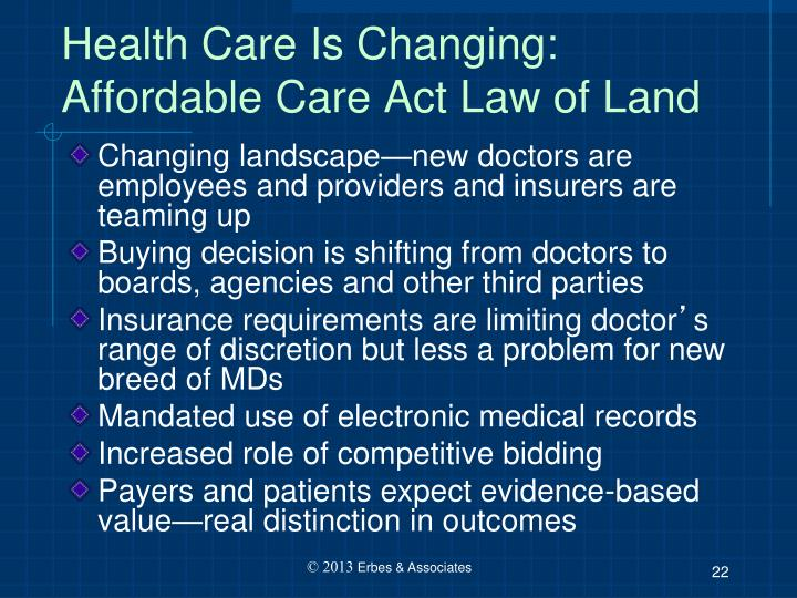 Health Care Is Changing: Affordable Care Act Law of Land