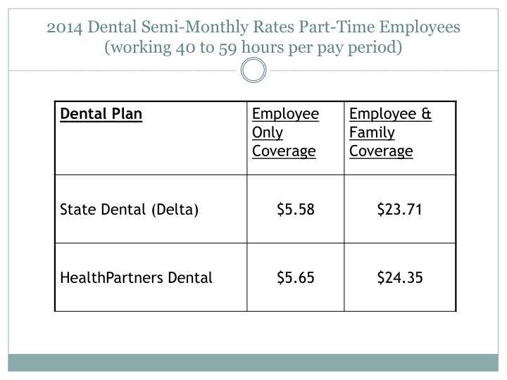 2014 Dental Semi-Monthly Rates