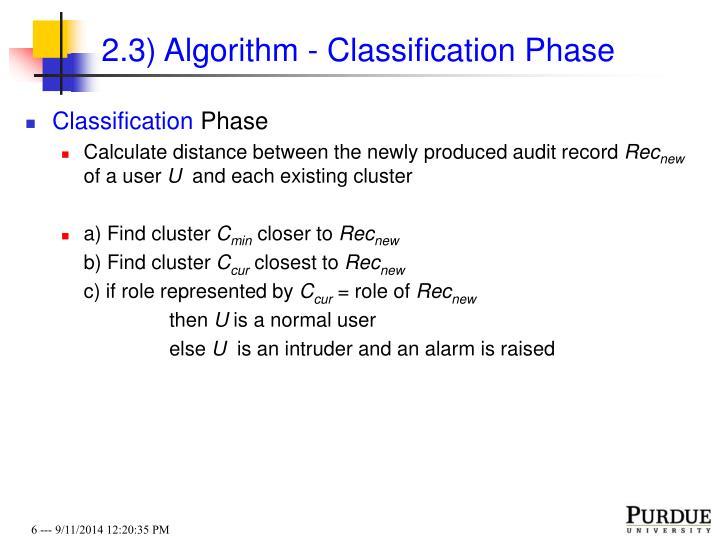 2.3) Algorithm - Classification Phase