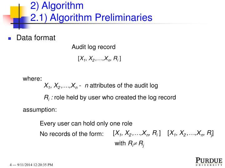 2) Algorithm