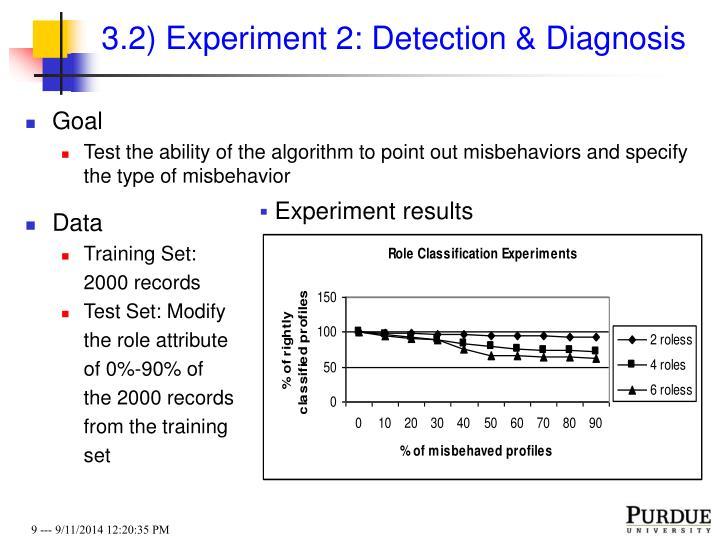 3.2) Experiment 2: Detection & Diagnosis