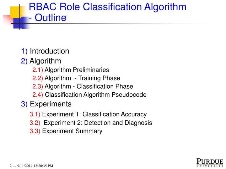 RBAC Role Classification Algorithm