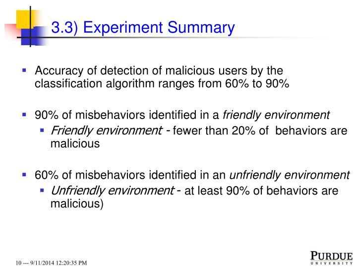 3.3) Experiment Summary