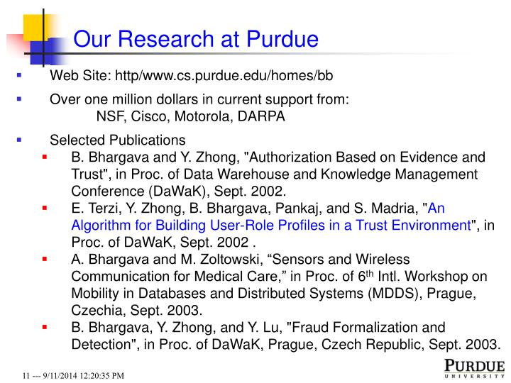Our Research at Purdue