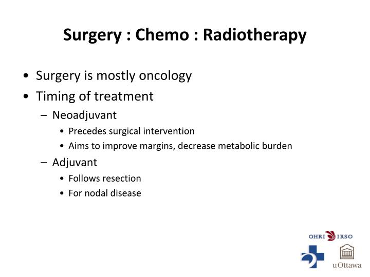 Surgery : Chemo : Radiotherapy