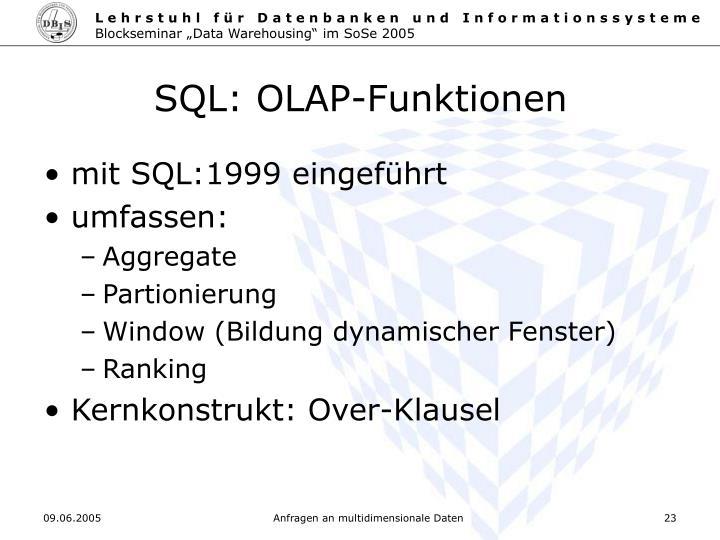 SQL: OLAP-Funktionen