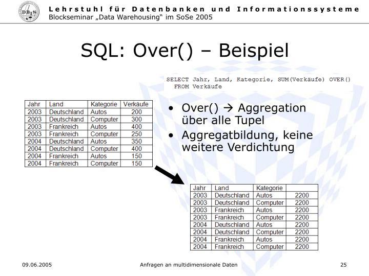 SQL: Over() – Beispiel