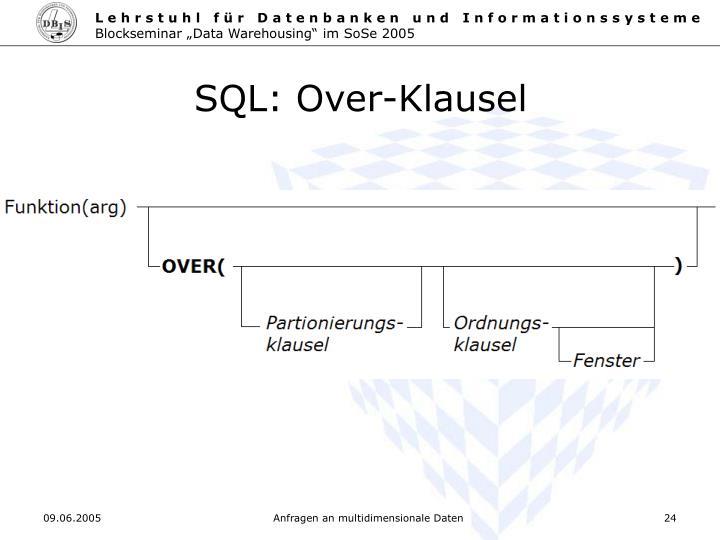 SQL: Over-Klausel