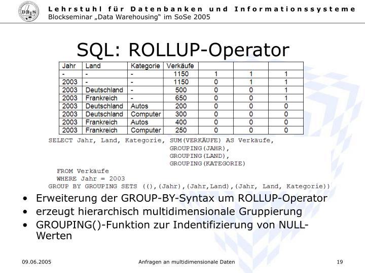 SQL: ROLLUP-Operator