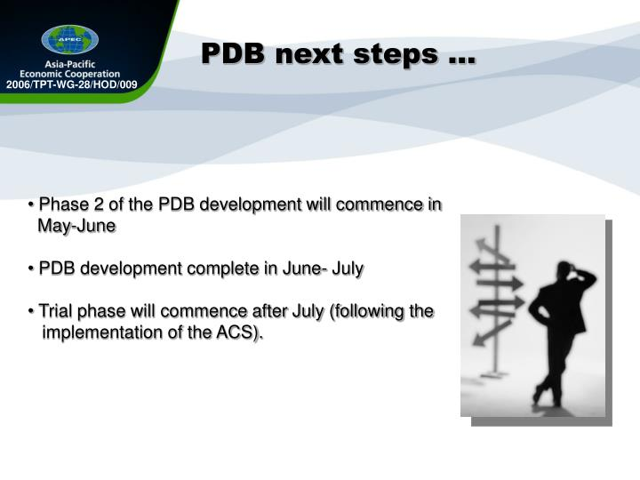 PDB next steps …