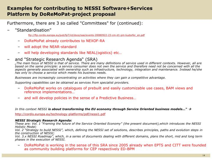 Examples for contributing to NESSI Software+Services Platform