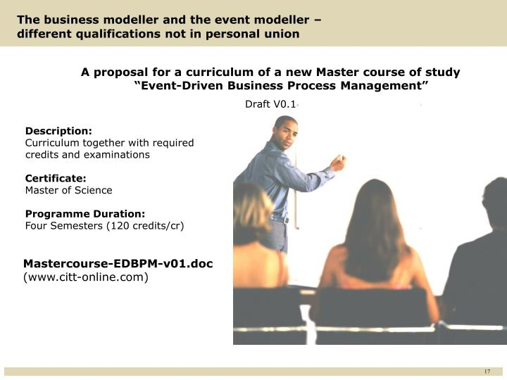 A proposal for a curriculum of a new Master course of study