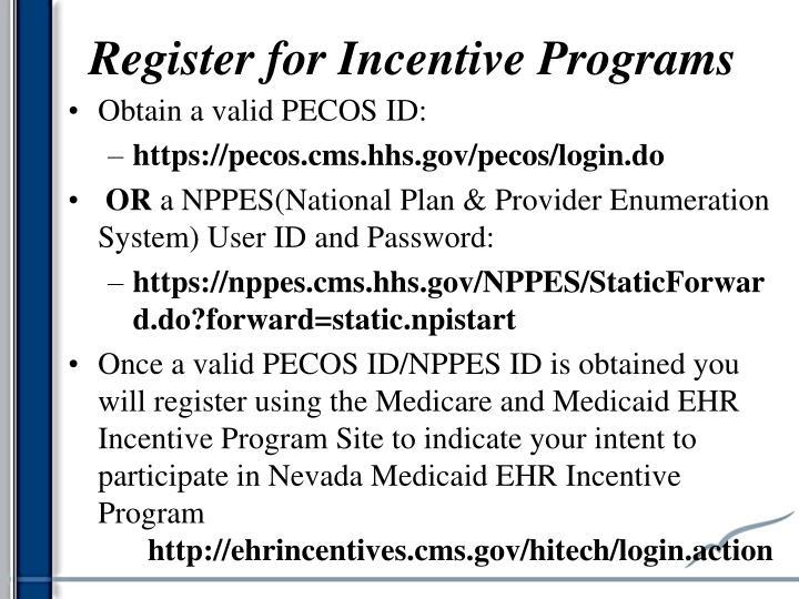 Register for Incentive Programs