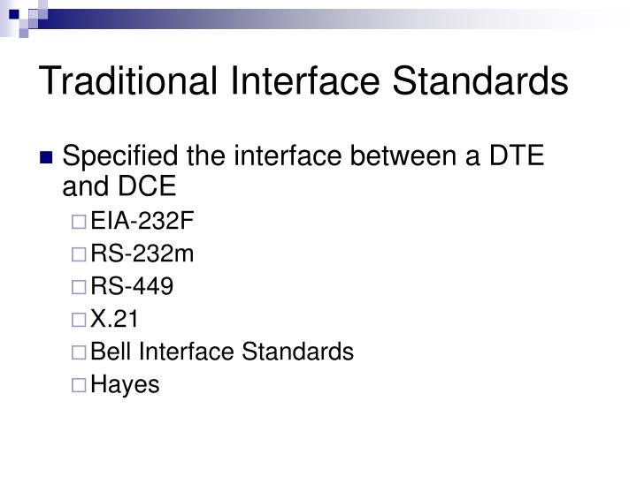 Traditional Interface Standards
